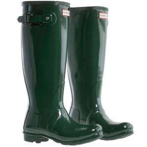 Womens Tall Hunter Rain Boot Green Gloss